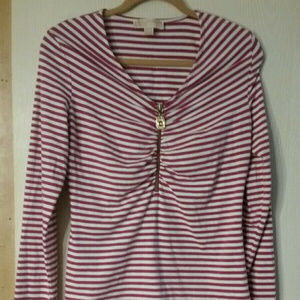 Michael Kors fuschia and white striped long sleeve